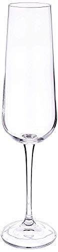 (Circleware 44604 Concerto Champagne Flutes Wine Glasses, Set of 6 Drinking Glassware for Water, Liquor and Best Selling Kitchen & Home Decor Bar Dining Beverage Gifts 7.4 oz Clear)