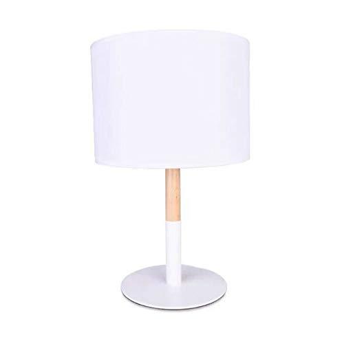 BarcelonaLED Lampara de mesa nordica blanca con base de aluminio, cuerpo de madera y pantalla de tela, casquillo para bombilla LED E27 sobremesa escritorio salon mesita de noche