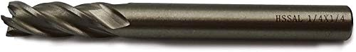Ø1/4``×1/4``Shank×2-3/8``OALExtra Long4FluteHigh Speed Steel Full GrindedSqaure End Mill CutterCNC Router Bits Milling Slotting Cutting Tools (Ø1/4``×1/4``SHK×3-1/16``OAL 4F)
