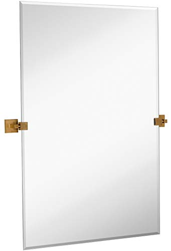 Hamilton Hills Rectangle Square Gold Pivot Mirror | Silver Backed Adjustable Moving - Gold And Bathroom Silver Mirrors