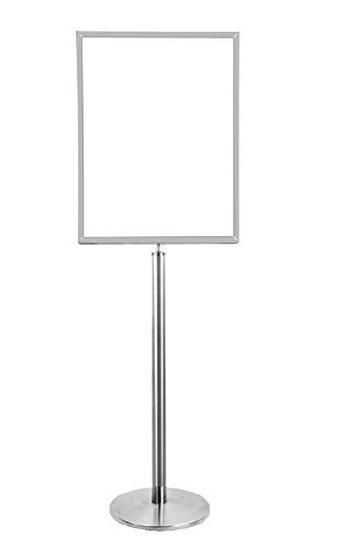 Lawrence metal 1310U-1S-2228HD-V Sign Stand, Universal Base, Heavy Duty Frame, Vertical, Satin Chrome, 22