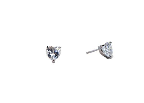 Heart Shape Stone - Surgical Stainless Steel Studs Earrings Little Girl - Women Heart Shape Birthstone Cubic Zirconia Hypoallergenic Earrings