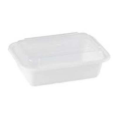 24 oz Microwaveable White Rectangular Container Lid Combo 150 CT by Newspring