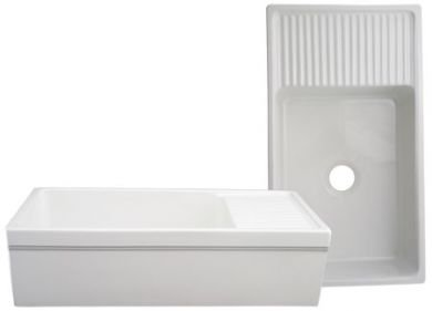 Whitehaus WHQD540-WHITE Farmhaus Quatro Alcove 36-Inch Reversible Fireclay Sink with Apron, White