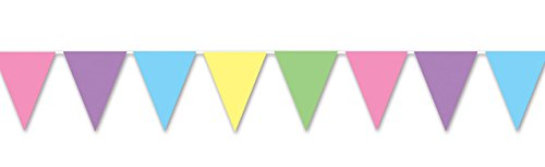 "Beistle 50707-PSTL Pastel Pennant Banner, 11"" x 12', Multicolor"