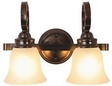 Monument 3557939 Sanibel 2-Light Vanity Fixture, Frosted Glass, 15-1/2 X 11 X 7-3/4 in, Oil Rubbed Bronze