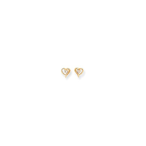 14k Fancy Diamond Heart Earring Mountings - Base Only, No (Diamond Fancy Ring Mounting)