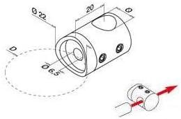 Querstabhalter Edelstahl V2A mit Bohrung 12,2 mm zweiteilig f/ür RR 42,4 mm