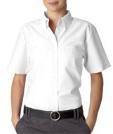 UltraClub® Ladies' Classic Wrinkle-Free Short-Sleeve Oxford - White - M (Classy Outfits For Men)