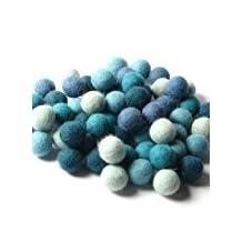60 Hand-felted Wool Felt Balls 2CM AQUAMARINE Handbehg Fiber Crafts