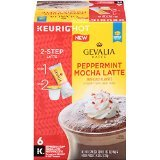 (4 Boxes) Gevalia Peppermint Mocha Latte and Espresso K Cup Pods with Latte Froth Packets