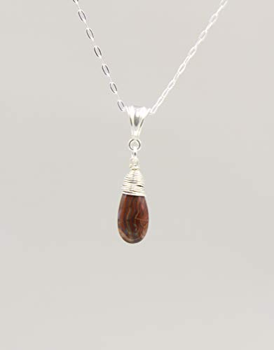 Jasper Gemstone Necklace with Sterling Silver Chain - 18