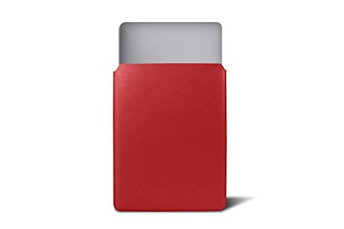 Lucrin - Slim Sleeve,Case,Cover for MacBook 12 inches - Red - Genuine Smooth Leather by Lucrin