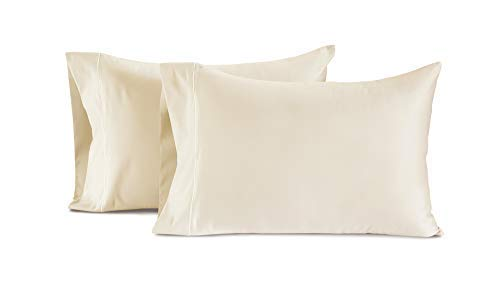 CHATEAU HOME COLLECTION Luxury 100% Egyptian Cotton Queen Pillowcases 800-Thread-Count Egyptian Cotton Deep Pocket Sateen Weave Set of 2 Queen Pillowcases,Long Staple Pure Cotton - Ivory