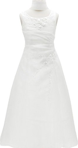 AkiDress Floral Embroidered Sleeveless A-Line Organza Elegant Flower Girl Dress White -