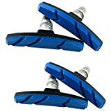 BlueSunshine 2 Pairs (4 Pieces) MTB Bike Cycle Bicycle Rubber V-Brake Pads No-Noise No-Skid, 70mm (Blue)