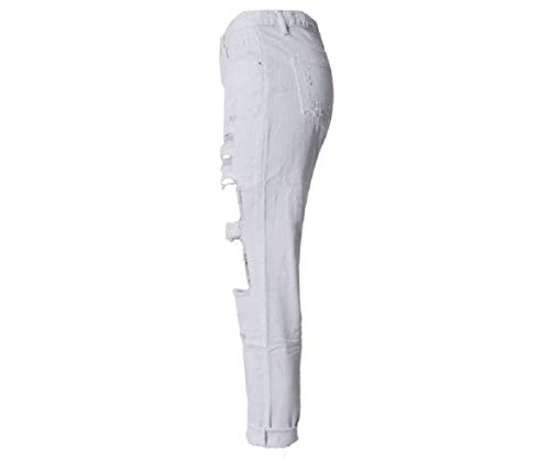 Pantalones Colores Agujeros Sólidos Mujer Con Stretch Alta De Mezclilla Blanco Delanteros Vaqueros Agujero Ajustados Bolsillos Cintura ApwRrPABxq