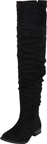 Cambridge Select Women's Thigh-High Slouch Foldover Cuff Low Heel Over The Knee Boot,6.5 B(M) US,Black IMSU