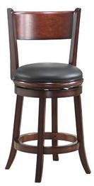 Boraam 43124 Palmetto Swivel Stool, 24-Inch, (Wood Leather Seating)