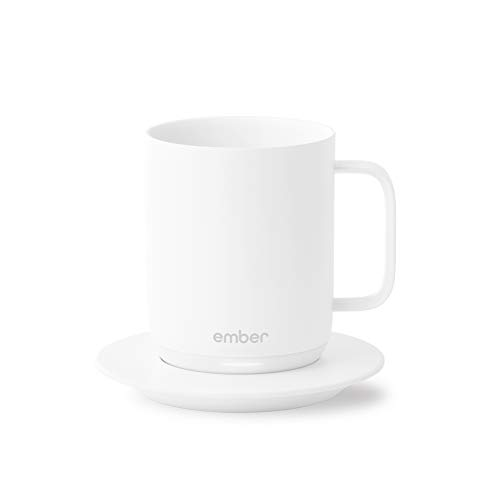 Ember Temperature Control Smart Mug, 10 Ounce, 1-hr Battery Life, White - App Controlled Heated Coffee Mug