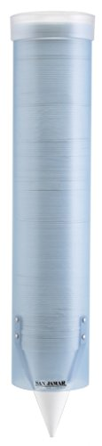 "San Jamar C4160TBL Small Pull Type Water Cup Dispenser, Fits 3oz to 4-1/2oz Cone and 3oz to 5oz Flat Cup Size, 2-1/4"" to 2-7/8"" Rim, 16"" Tube Length, Arctic Blue"