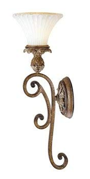 (Livex Lighting 8451-57 Savannah - One Light Wall Sconce, Venetian Patina Finish with Vintage Carved Scavo Glass)