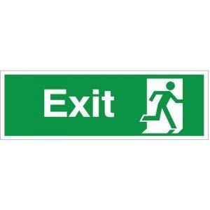 10 x Exit Running Man Right Signs Self Adhesive Warning Stickers Safety Sign Decal Lable for Property 300mm x 100mm