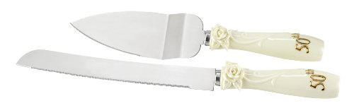 Hortense B. Hewitt Wedding Accessories 50th Anniversary Pearl Rose Cake Knife and Server Set (Knife Accent Cake Gold)