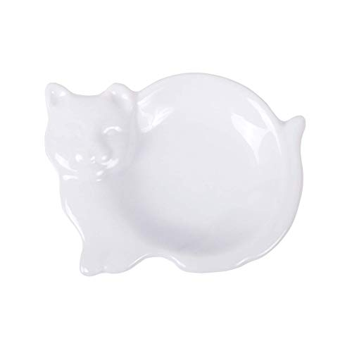 HIC Harold Import Co. 73/29 HIC Cat-Shaped Tea Bag Holder and Resting Caddy, Fine White Porcelain, 3.75-Inches, from HIC Harold Import Co.