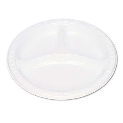 Tablemate Plastic Dinnerware 3-Compartment Plates, White, 9
