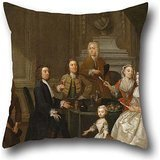Cushion Cases Of Oil Painting Gawen Hamilton - Group Portrait, Probably Of The Raikes Family,for Her,chair,wedding,kids Room,boys,dinning Room 18 X 18 Inches / 45 By 45 Cm(both Sides)