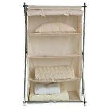 Silver X Frame Canvas 4 Shelf Storage Unit - Cream