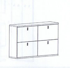 Bienenmuehle Vido Schuhklappenschrank (hängend) mit 4 Schuhkörben und 2 Einlegeböden in Kernbuche vollmassiv