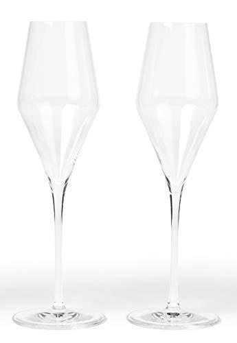 - Quatrophil - German Crystal Champagne Flutes - Set of 2 - Stolzle Lausitz
