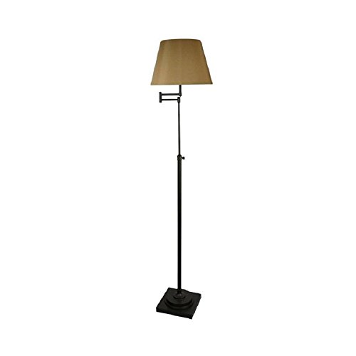 allen + roth Hillam 64-in Bronze Swing-Arm Floor Lamp with Fabric Shade - Fabric Swing Arm