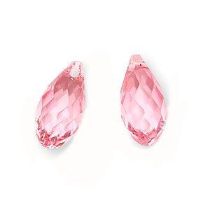 Swarovski Teardrop Beads - SWAROVSKI ELEMENTS Flat Crystal Briolette Beads #6010 11x5.5mm Lt Rose (2)