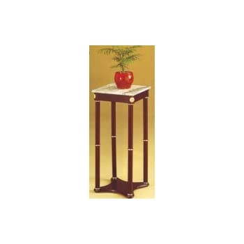 Amazing Cherry Finish Wood Square Style Plant Stand With Marble Table Top