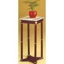 (AtHomeMart Cherry Finish Wood Square Style Plant Stand with Marble Table Top)