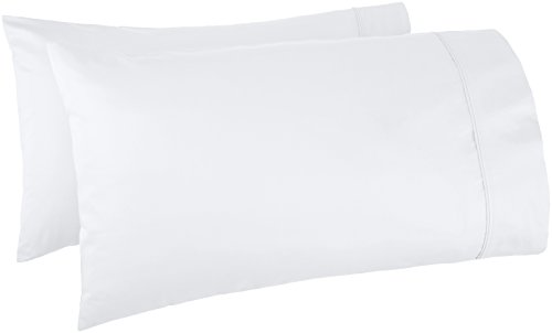 (AmazonBasics 400 Thread Count Cotton Pillow Cases, Standard, Set of 2, White)