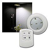 Edco 6 X Remote Control Wall Ceiling Led Push Lights Kitchen Bathroom Cabinet Shed
