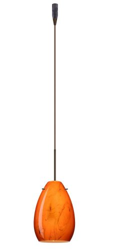 (Besa Lighting RXP-1713HB-BR 1X50W Gy6.35 Pera 6 Pendant with Habanero Glass, Bronze Finish)