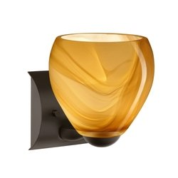 Besa Lighting 1WZ-4122HN-BR 1X60W A19 Bolla Wall Sconce with Honey Glass, Bronze Finish