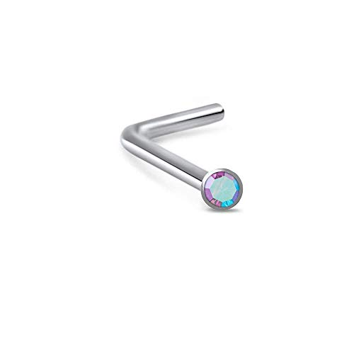 Titanium Lbend Nose Ring 2mm Bezel Stone Aurora AB ()