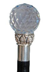 Cane with Swarovski Crystal Ball Handle and Silver Collar