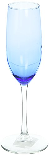 Cobalt Blue Champagne - Royal Blue Tinted Clear Stem Two-Tone Champagne Flutes Glasses, 8oz