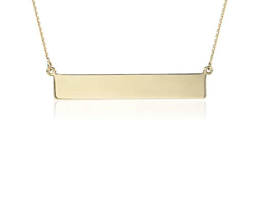 14K Solid Yellow Gold Horizontal Bar Necklace in 14K Gold Diamond Cut Cable Chain Necklace -16""