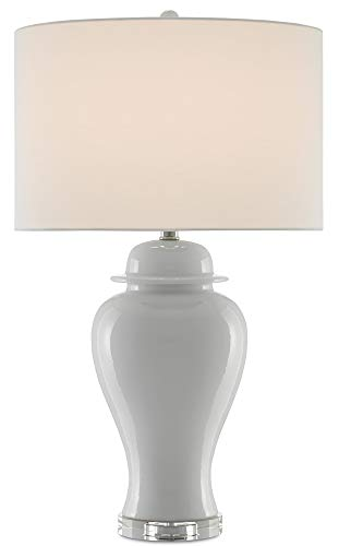 Currey and Company 6000-0286 Shiroi - One Light Table Lamp, White Crackle/Polished Nickel Finish with Blanco Linen Shade ()
