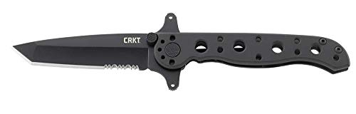 CRKT M16-10KSF EDC Folding Pocket Knife: Special Forces Everyday Carry, Black Serrated Edge Blade, Tanto, Frame Lock, Dual Hilt, Stainless Steel Handle, Reversible Pocket Clip