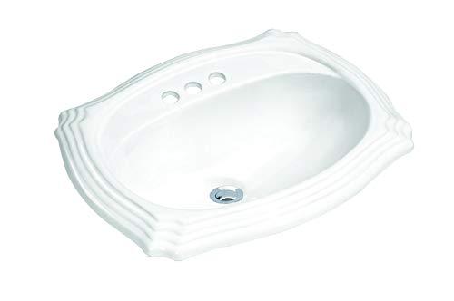 Oval Top Mount - MSCBDP-2319-3W 23-in x 19-in White Oval Porcelain Drop-In Top Mount Bathroom Sink