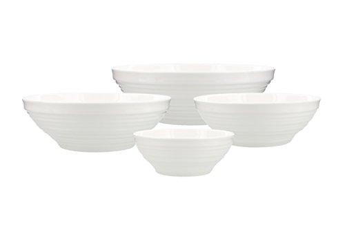 4 Mikasa China - Mikasa Swirl Bone China Bowls, White (Set of 4)